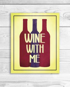 Wine Quote Art Print Kitchen Wall Art Funny by SmartyPantsStudio