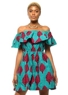 Cerena African Print Off the Shoulder Ruffle Dress (Turquoise/Raspberry)