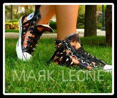 New!!!!!!Custom Converse All-Star by Mark Leone ® Βρες το αγαπημένο σου σχέδιο τώρα! Για παραγγελίες ,η για οποιαδήποτε άλλη πληροφορία στείλτε μήνυμα στη σελίδα μας. Διαθέσιμο σε όλα τα χρώματα,και σε όλα τα νούμερα.  Available in any size & any colour ! For more details ,orders or further information about our creations please send us an inbox message Converse Chuck Taylor High, Converse All Star, Converse High, High Top Sneakers, Custom Converse, Chuck Taylors High Top, High Tops, Stars, Fashion