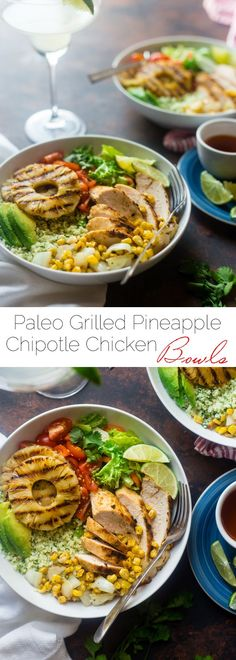 Paleo Mexican Chicken Bowls with Pineapple Grilled Cauliflower Rice - These easy chicken bowls have grilled cauliflower rice and a spicy-sweet pineapple chili sauce! They're a healthy, gluten free dinner that's big on flavor! | Foodfaithfitness.com | @FoodFaithFit