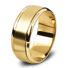 9ct Yellow Gold Gents Wedding Ring Beveled edges Rings For Men, Bands, Wedding Rings, Engagement Rings, Jewels, Yellow, Gold, Design, Rings For Engagement