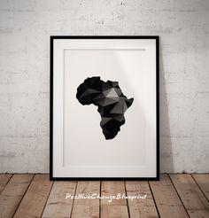 African map Love Africa Minimalist art Modern by PositiveChangeArt