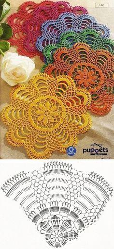 Luty Artes Crochet Centro De Tapetes Crochet Crochet Doilies y Col Crochet, Crochet Doily Diagram, Crochet Dollies, Crochet Motifs, Thread Crochet, Crochet Crafts, Crochet Square Patterns, Crochet Stitches Patterns, Crochet Designs