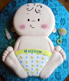 adorable baby shower cake (hmmm, this ranks up there with eating the cute little chocolate bunnies at Easter time)