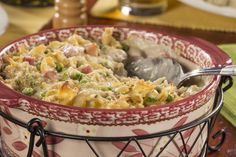 Whether you make this bake for a church supper or you serve it to the family for dinner, you're sure to receive lots of compliments. This creamy Ham 'n' Swiss Bake is made with lots of Swiss cheese, chopped ham, and yummy egg noodles.