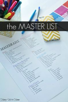 Tips for getting organized- the Master List