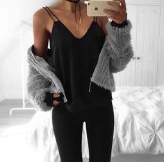 Black Cami with grey knit