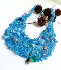 Azure V free form peyote stitch unique beaded necklace by Cesart64
