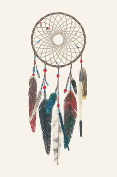 Beautiful colorful dream catcher drawing