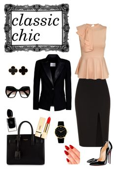 """""""classic style"""" by elenilor on Polyvore featuring A.L.C., Christian Louboutin, Yves Saint Laurent, eylure, PUR, Giorgio Armani, Prada, Van Cleef & Arpels, Larsson & Jennings and Pierre Balmain"""
