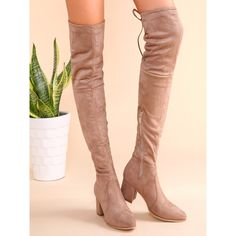 SheIn(sheinside) Apricot Point Toe Tie Back Side Zipper Thigh High... ($48) ❤ liked on Polyvore featuring shoes, boots, over the knee thigh high boots, suede thigh-high boots, suede boots, side zip boots and laced up boots