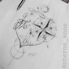 Browse best global tattoos for men & women. Find inspiration for your next tattoo & book an artist Anchor Tattoo Design, Sketch Tattoo Design, Anchor Tattoos, Tattoo Sketches, Tattoo Drawings, Tattoo Designs, Compass Tattoo Design, Geometric Compass, Nautical Compass Tattoo
