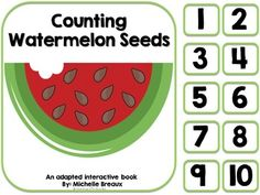 * Counting Watermelon Seeds-- adapted book * number, number word, & picture counting pocket chart cards to compliment the story * Tens Frames Adapted interactive books are perfect for early learners. There is an interactive component on each page to keep students engaged and actively participating in reading.