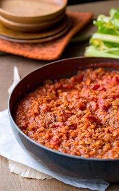 Lentil Bolognese - easy, vegan, naturally gluten free dinner recipe that's full of healthy ingredients. Makes a great sauce for pasta!