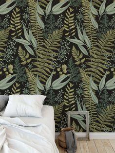 Botanical Greenery Peel and Stick Wallpaper - Fern Wallpaper Mural - Self Adhesive Wallpaper - Removable Wallpaper - Easy DIY Wallpaper