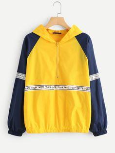 Letter Print Raglan Sleeve Hoodie Jacket -SheIn(Sheinside) zip up Boho fashion | trendy clothes | new fashion | fashion ideas | hot tops | pullover hoodies | zip up hoodies| cropped hoodies | cute hoodies for women | black hoodies | pink hoodies