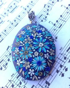 Polymer clay - Gorgeous Fall Blue Flowers Pendant Head