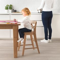 IKEA - INGOLF, Junior chair, antique stain, Gives the right seat height for the child at the dining table. Ikea Kids Chairs, Toddler High Chair, Cute Desk Chair, Childrens Kitchens, Baby Nursery Themes, Rental Decorating, Flats, Deco, Homes