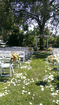 Shingle springs florist ceremony decorations, sheppards hooks, arch swag rose petals burlap