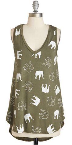 darling olive green elephant tank