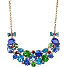Betsey Johnson Multi Gems Frontal Necklace ($155) found on Polyvore