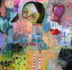 primitive, whimsical - LIVE FROM ONENESS - mixed media art print by Mindy Lacefield. $18.00, via Etsy.