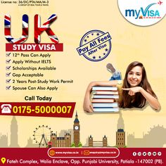 """UK WELCOMES THE ASPIRING CANDIDATES FOR SEP. 2020 & JAN 2021 INTAKE  📌12 PASS CAN APPLY 📌WITHOUT IELTS 📌GAP ACCEPTED 📌SCHOLARSHIPS AVAILABLE 📌SPOUSE CAN ALSO APPLY 📌2 YEARS POST-STUDY WORK PERMIT  ✅ What are you waiting for ? 👉APPLY TODAY WITH """"myVisa""""  👉For more details ☎️0175 5000007 📩 enquiry@myvisa.co.in Scholarships In Uk, Patiala, Pta, Ielts, Study Abroad, University, How To Apply, Education, Waiting"""