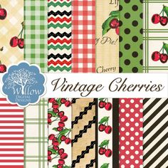Vintage Cherry Digital Paper kit in a Vintage Cherry theme. This set Includes 14, 12x12 300 DPIPapers.