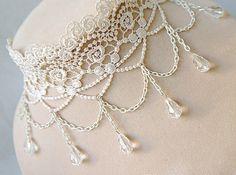 white lace choker necklace art deco vintage victorian by LaceFancy, $16.99