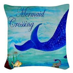 Mermaid Crossing Art Throw Pillow outdoor double sided throw pillow from my artwork. Insert included Art appears on both sides of pillow which is made from a durable yet soft outdoor, mold resistant w