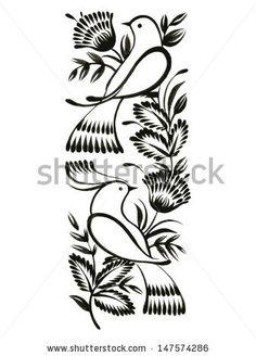 decorative ornament, hand drawn, vector, black illustration in Ukrainian folk style - stock vector