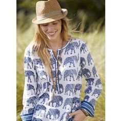 Printed Button-Front Tunic – Haathi