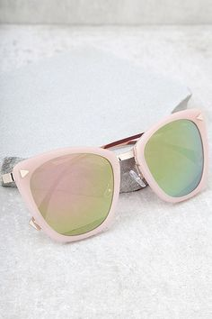 79a40b25b8e Style For Miles Pink and Green Mirrored Sunglasses
