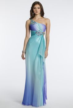 Camille La Vie Ombre Chiffon One Shoulder Prom Dress