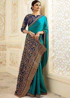 Prachi Desai Blue Georgette Satin Saree with Embroidered Blouse Blue Silk Saree, Satin Saree, Pink Saree, Indian Attire, Indian Outfits, Indian Wear, Indian Clothes, Choli Designs, Saree Blouse Designs