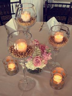 Pink and gold centerpiece idea