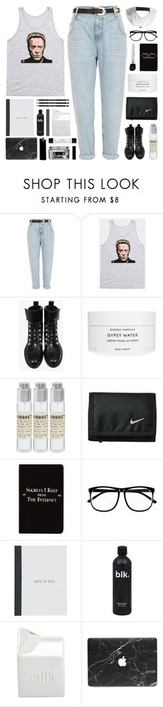 """""""christopher walken"""" by megan-vanwinkle ❤ liked on Polyvore featuring River Island, Byredo, Le Labo, Rich and Damned, H&M, BIA Cordon Bleu, WALL, philosophy, Color and polyvoreeditorial"""