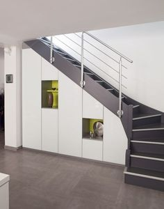 Hollow under the stairs - ideas to decorate and beautify it - house decoration - Modern staircase design - Under Stairs Cupboard Storage, Stair Storage, Showcase Designs For Hall, Placard Design, Home Stairs Design, Escalier Design, Traditional Staircase, Main Door Design, Modern Stairs