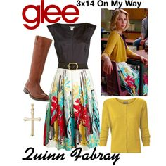 Quinn Fabray (Glee) : 3x14 by aure26 on Polyvore featuring mode, Frye and glee