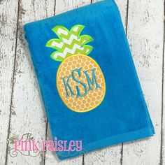Pineapple Applique beach towel monogram towel by The Pink Paisley