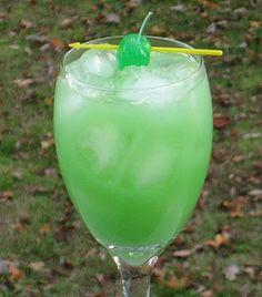 Swamp Thing--interesting name. Gin, Island Punch Pucker, Orange Juice & fruit to garnish. Definitely festive looking.