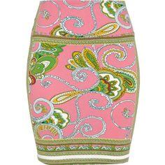 River Island pink scarf print skirt...so cute!