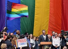 Gavin Newsom, lieutenant governor of California, speaks during a news conference outside City Hall after the U.S. Supreme Court same-sex marriage ruling in San Francisco, California, U.S., on Friday, June 26, 2015. Same-sex couples have a constitutional right to marry nationwide, the U.S. Supreme Court said in a historic ruling that caps the biggest civil rights transformation in a half-century.
