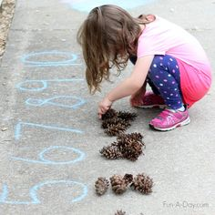 Ideas for simple math activities kids can do outside Forest School Activities, Camping Activities For Kids, Number Activities, Preschool Learning Activities, Fun Learning, Camping Ideas, Fall Preschool, Preschool Classroom, Outdoor Learning
