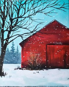 Winter barn canvas canvas painting v roce 2019 painting, christmas painting Winter Painting, Winter Art, Diy Painting, Painting & Drawing, Watercolor Paintings, Red Barn Painting, Painting Classes, Watercolors, Christmas Canvas