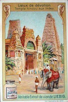Liebig Tradecard - Hindu Temple in India Vintage Labels, Vintage Ephemera, Vintage Ads, Vintage Prints, Vintage Posters, Om Namah Shivaya, Hindu Temple, Poster Ads, Paris