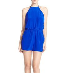 Charlie Jade Sleeveless Silk Romper (3.521.345 VND) ❤ liked on Polyvore featuring jumpsuits, rompers, cobalt, halter top, blue rompers, charlie jade romper, charlie jade and halter-neck tops