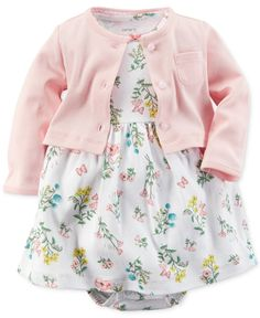 Carter's Baby Girls' 2-Piece Cardigan & Floral Dress Set
