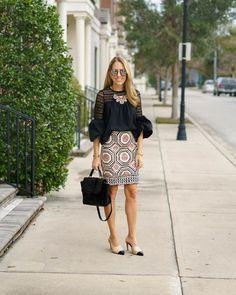 Bell sleeve top, pattern pencil skirt