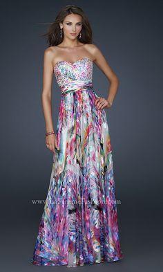 Strapless Multi Print Prom Dress